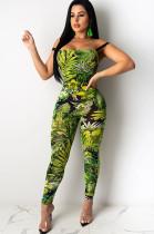 Green Leaves Random Print Wired Bodycon Jumpsuit KDN1155