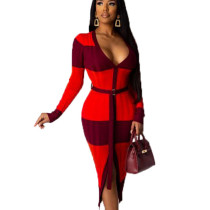 Red Plaid V Neck Split Front Long Dress with Self-belted OMY8009