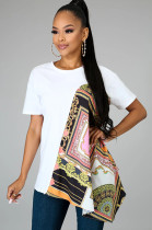 White & Scarf Print Patched Self Belted Ruffled Hem Top YYZ638