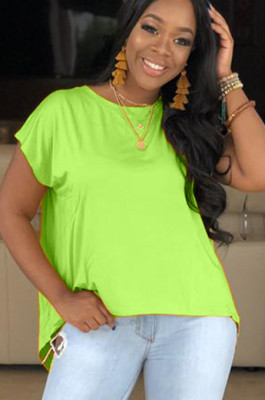 Glass green round neck pleated shoulder front crop t-shirt drop tee S6153