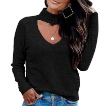 Black Long SLeeve Mesh Front Mock Neck Blouse K058