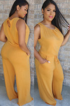 Yellow Back Eyeshole Shirred Tank Top & loose Self-tied Pants Sets W8266