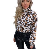 White Leopard Pattern Print Pleated Halter Neck Blouse DN8345