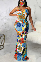 Multi Casual Polyester Sleeveless Round Neck Tie Front Long Dress SMR9647