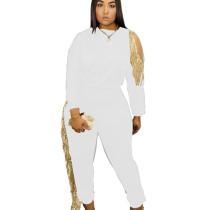White Newest Women Leisure White/Black Slim Bodycon Tassel Outfits JH132