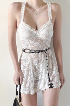 Lace Shirred Details Floral Embroidered Cami Dress CCY8425