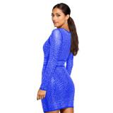 Blue Bling Bling Rhinestone Long Sleeves Bodycon Mini Dress XZ3298