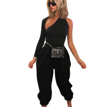 New Design 2 Pieces Pure Color Irregular Pants Sets For Women NK076