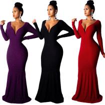 Party Elegant V Neck Backless Long Dress QZ4523