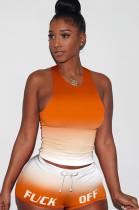 Gradient Orange Tanks Drawsting Top & Shirred Shorts Sets GL6262