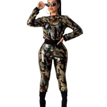 Shiny Colorful Sequin 2 Pieces Camouflage Slim Bodycon Outfits KA7063