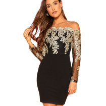 Black Bodycon Long Sleeve Embroidered Lace Patchwork Strapless Dress JLX8922