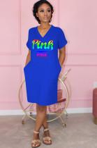 Blue Casual Polyester Letter Short Sleeve V Neck Shift Dress OMM1136