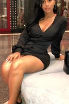 Black Sexy Polyester Long Sleeve V Neck Mini Dress BBN011