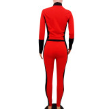 Newest Women Contrast Color Bodycon Track Suits OEP5287