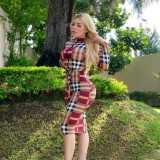 Orange Stripped Print Long Sleeves Bodycon Midi Dress LY5102