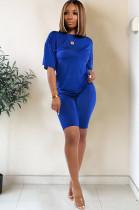 Blue drop sleeve round neck short sets TRS1006