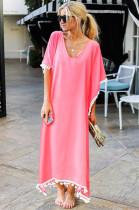 Pink Low Neck Embroidered Hem Long Dress JLX8927
