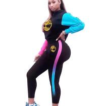 Black Pattern and Side Printed Sport Pant sets BM9048