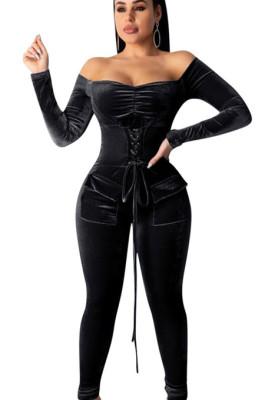 Black Off Shoulder Tied Front Skinny Jumpsuit W8252
