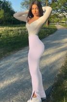 White Skinny Mid-rise Bell-bottom Pants HG5320