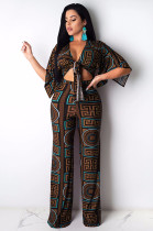 Coffee Scarf Print Knotted Front Loose Wide Leg Jumpsuit KA7091