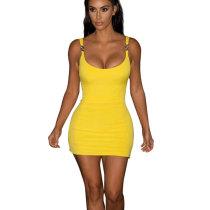 Yellow Pure Color Strappy Bodycon Mini Dress X9115