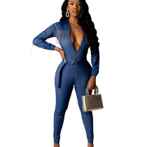 Blue Fashionable Tight Zip Up Belted Long Jumpsuit For Ladies SDD9210