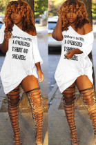 White Sexy Polyester Letter Off Shoulder Shift Dress DN8375