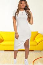 White Side Split & Twist Shirt Dress CM726