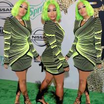Striped Long Sleeves Mini Club Dress ALS051