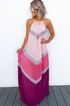 Pink Strapless Back Eyehole Opened Loose Long Dress JLX7001