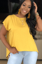 Yellow round neck pleated shoulder front crop t-shirt drop tee S6153