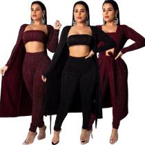 High Quality 3 Pieces Bandeau Tops+Pants+Cardigans QZ4522