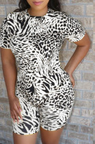 White Casual Polyester Leopard Short Sleeve Round Neck Tee Top Shorts Sets QZ4118