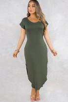 Green Round Neck Roll-up Short Sleeve Side Split Long Dress Q506
