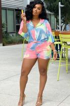 Tie Dye Drop Sleeve Skirt Hoodie Top & Short Pants Set E8390