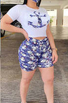 Casual Polyester Cartoon Graphic Short Sleeve Round Neck Tee Top Shorts Sets OEP615