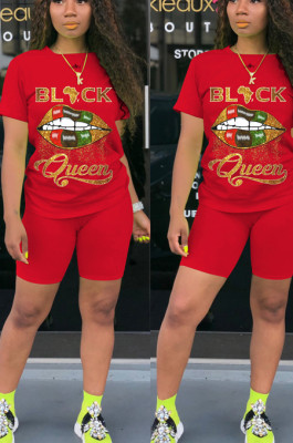 Red Casual Polyester Mouth Graphic Short Sleeve Round Neck Tee Top Shorts Sets FH090