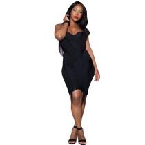 Women Elegant Black Tassel Strapless Dress DN8168