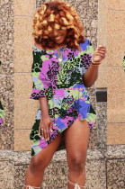 Colorful Purple Basics Polyester Animal Graphic Short Sleeve Round Neck All Over Print Shift DressCYY8550