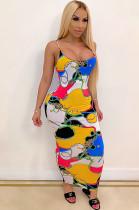 Multi Casual Sleeveless Round Neck All Over Print Slip Dress YF8477