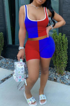 Blue Red Casual Polyester Sleeveless Square Neck Spliced Tank Top Shorts Sets SDD9261