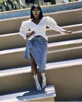 Stylish Irregular Pleated Sleeves Women Top MTY6108