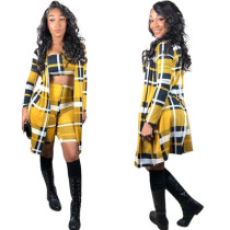 Women Suits Bandeau Top Bodycon Shorts Long Coat OEP5297