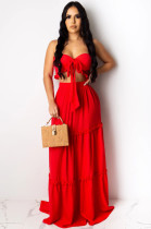 Red Sexy Sleeveless Tie Front Ruffle Bandeau Bra Long Skirt KZ133