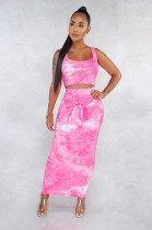 Pink Marble Tank Top & Front Tied Shift Dress Set FMM1079