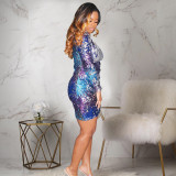 Colorful One Shoulder Glitter Sequins Club Mini Dress MA6101