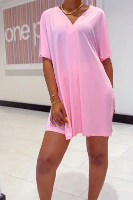 Pink Casual Polyester Short Sleeve V Neck Split Hem Tee Top Shorts Sets WY6678