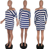 Red Striped Loose Casual T Shirt Dress AMM8185
